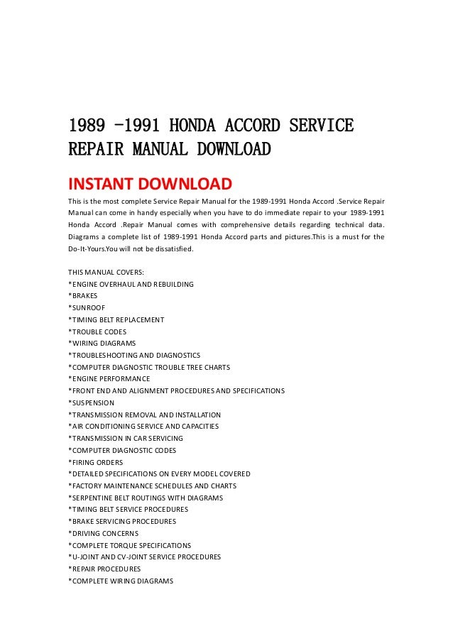 1989 1991 honda accord service repair manual 1989 1991 honda accord servicerepair manual instant this is the most complete service repair