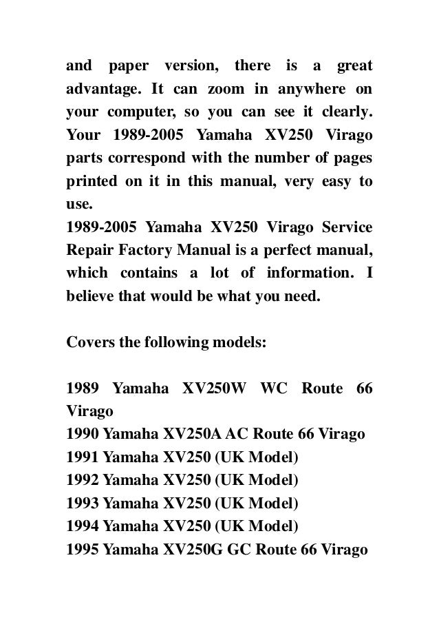 yamaha virago 250 service manual