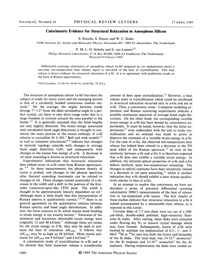 1989 calorimetric evidence for structural relaxation in amorphous silicon