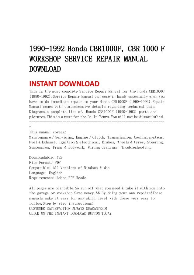 1990 1992 honda cbr1000 f, cbr 1000 f workshop service repair manual  download