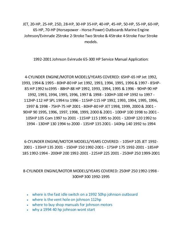 2001 johnson 50 hp repair manual open source user manual u2022 rh dramatic varieties com Johnson 25 HP Outboard Long Shaft Johnson 25 HP Outboard Long Shaft