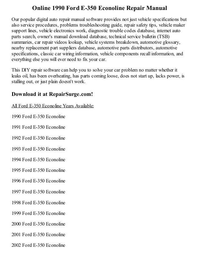 1990 ford e 250 econoline repair manual online rh slideshare net 2013 ford econoline owners manual 2006 ford econoline e250 owners manual