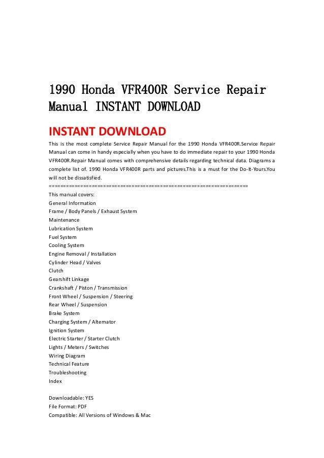 1990 Honda Vfr400 R Service Repair Manual Instant Download