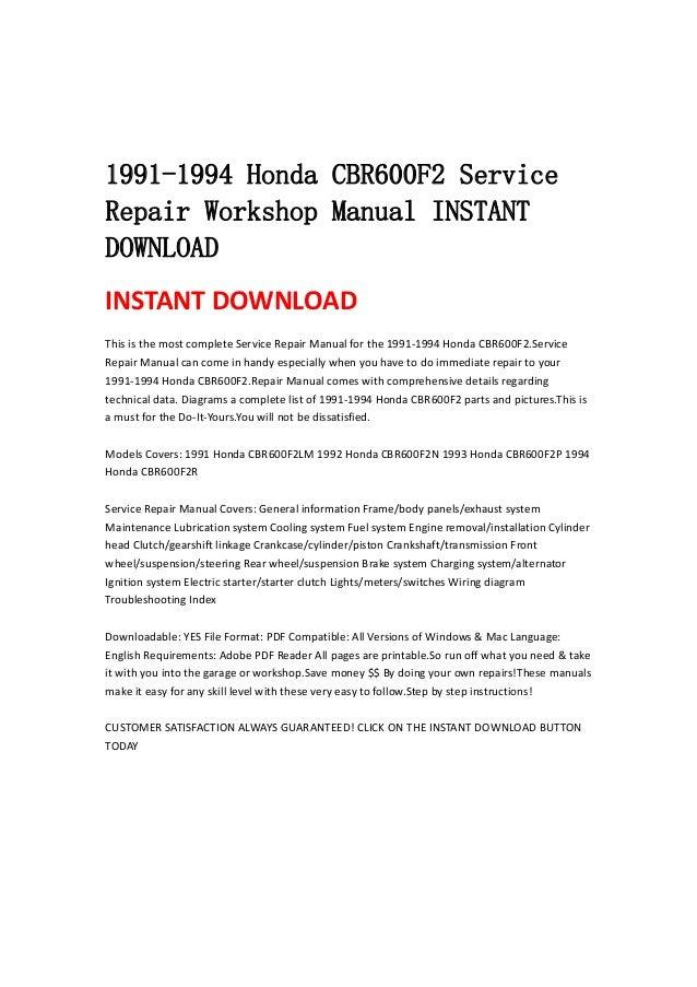 1991 1994 honda cbr600 f2 service repair workshop manual instant down…