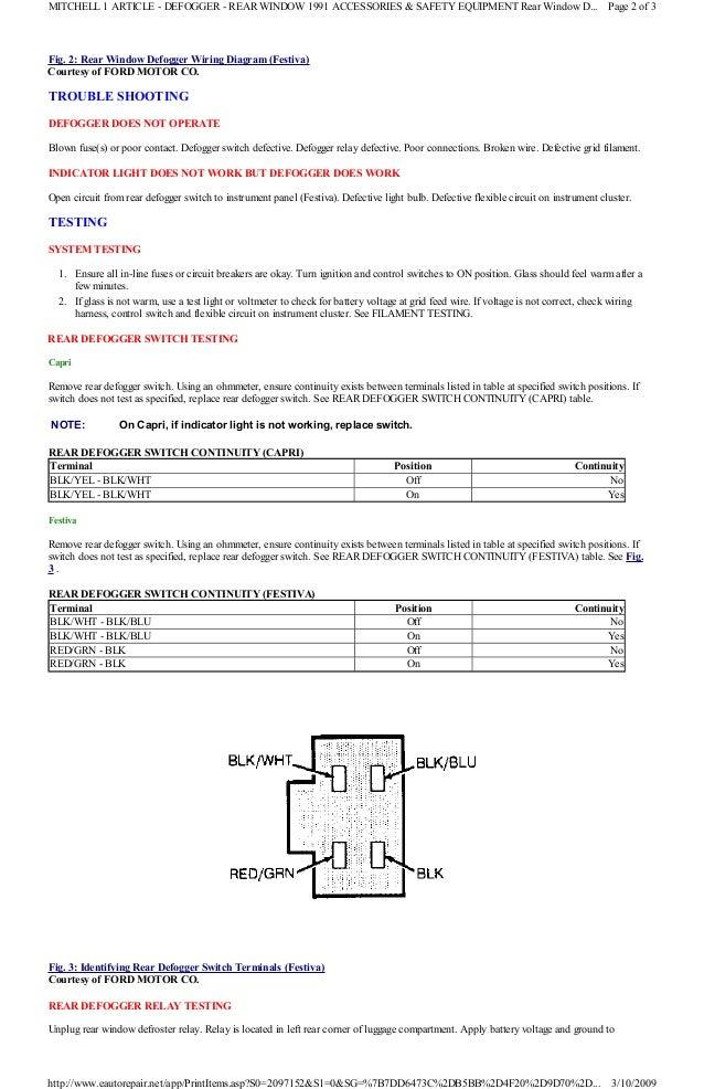 1991 ford festiva manual 1991 Toyota MR2 Wiring-Diagram 8 fig 2 rear window defogger wiring diagram (festiva) courtesy of ford