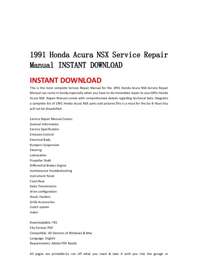 1991 honda acura nsx service repair manual instant download rh slideshare net acura nsx owners manual pdf acura nsx owners manual