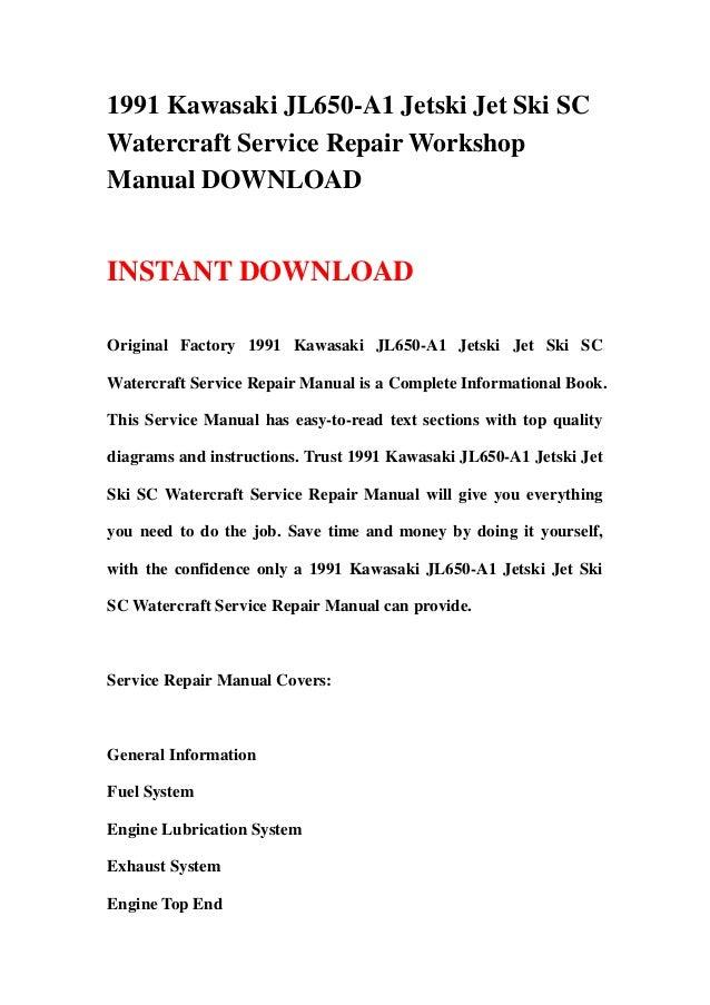 download jetski jet ski sc jl650 1991 1995 service repair workshop manual instant download
