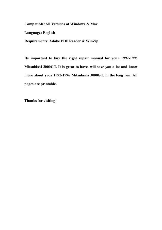 1992 1996 mitsubishi 3000gt workshop service repair manual download 1992 1993 1994 1995 1996