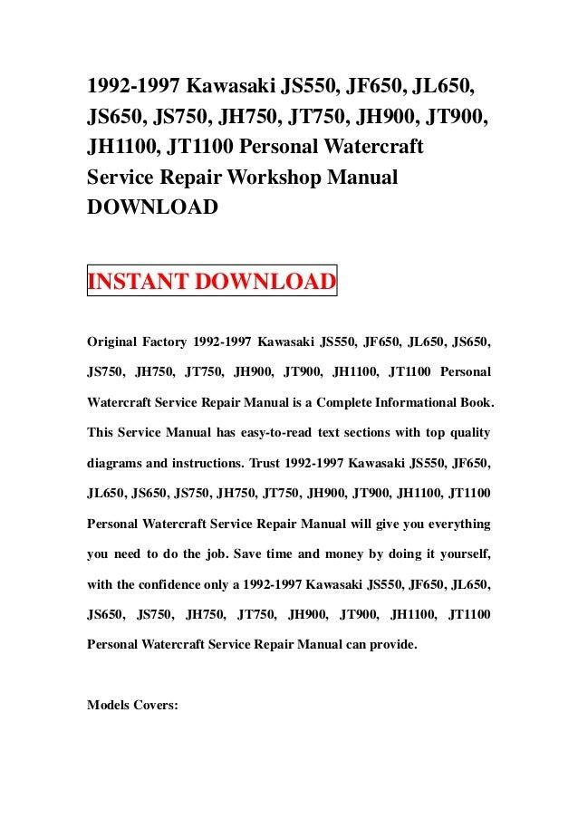 kawasaki pwc 1992 1998 workshop service manual pdf