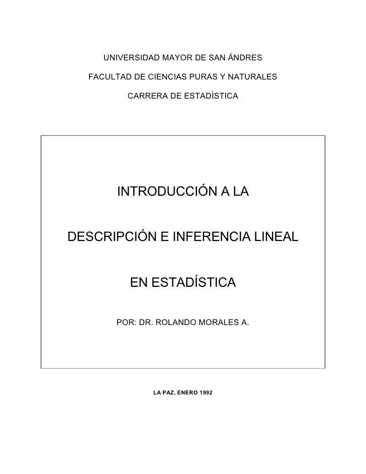 UNIVERSIDAD MAYOR DE SAN ÁNDRES  FACULTAD DE CIENCIAS PURAS Y NATURALES         CARRERA DE ESTADÍSTICA       INTRODUCCIÓN ...