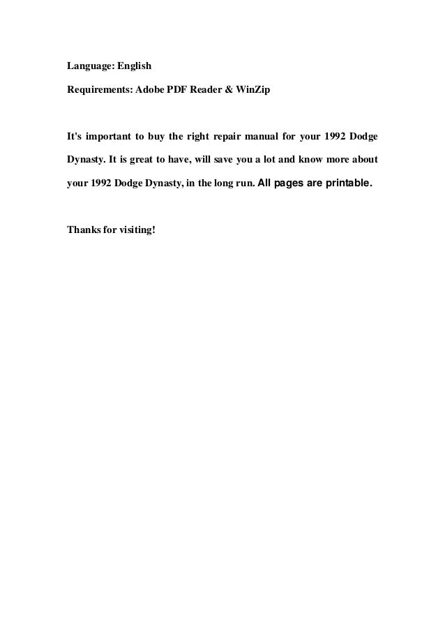 1992 dodge dynasty service repair workshop manual download – Dodge Dynasty Wiper Wiring