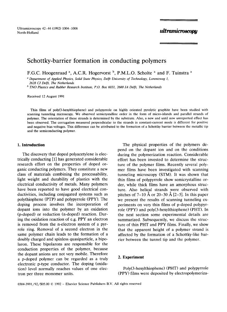 Ultramicroscopy42-44 (1992) 1004-1008 North-Holland           Schottky-barrier formation in conducting polymers       F . ...