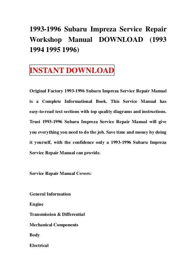 subaru impreza 1993 1994 1995 1996 service repair shop manual instant download