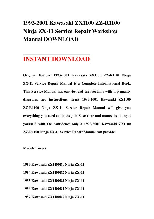 1993 2001 kawasaki zx1100 zz r1100 ninja zx 11 service repair worksho rh slideshare net 1992 kawasaki zx11 service manual pdf kawasaki zx11 service manual