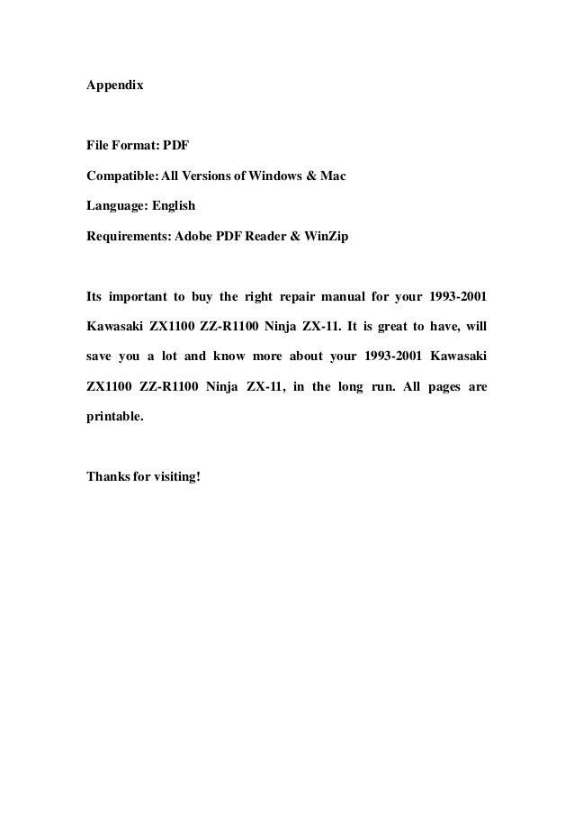 1993 2001 kawasaki zx1100 zz r1100 ninja zx 11 service repair worksho rh slideshare net zx11 service manual kawasaki zx 11 service manual pdf