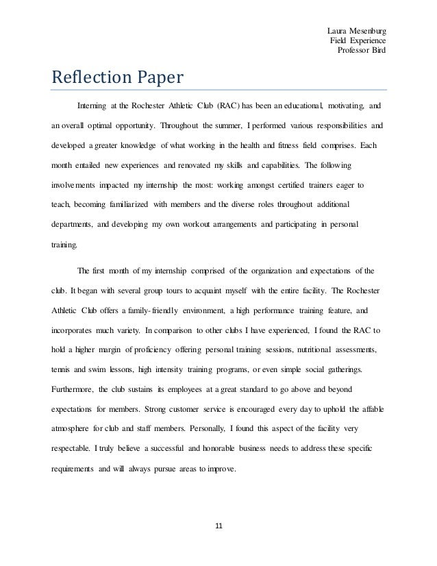 reflection paper jpg cb  10 rochester athletic club reflection paper field experience 2