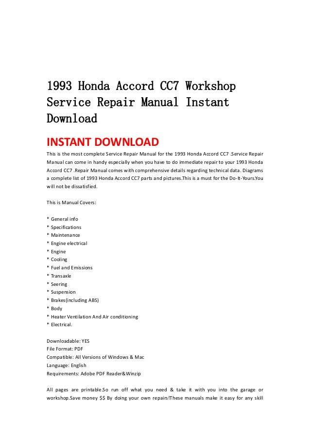 93 honda accord service manual free owners manual u2022 rh wordworksbysea com 2001 Honda Accord Service Manual PDF 2000 Honda Accord Coupe