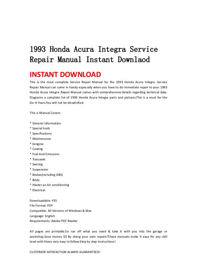 1993 honda acura integra service repair manual instant downlaod rh slideshare net 1994 Acura Integra 1997 Acura Integra