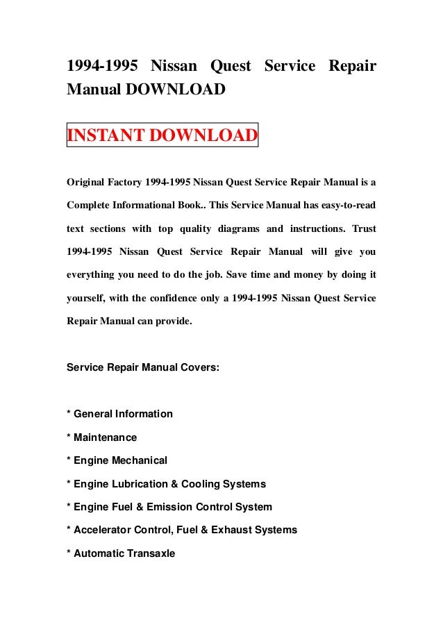 1994 1995 nissan quest service repair manual download rh slideshare net 2011 nissan quest service manual 2007 nissan quest service manual