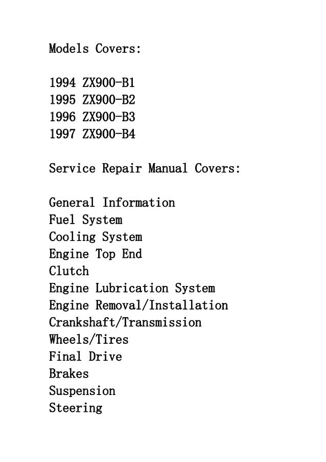 kawasaki zx9r zx 9r 1994 1999 repair service manual