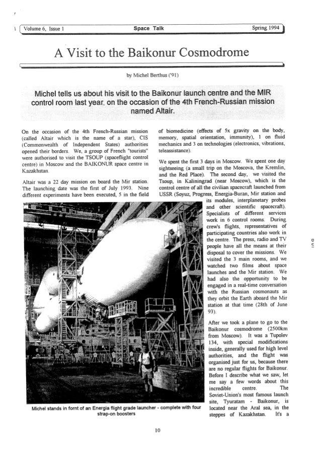 1994 spring baikonur michel berthus article space talk isu 4p top