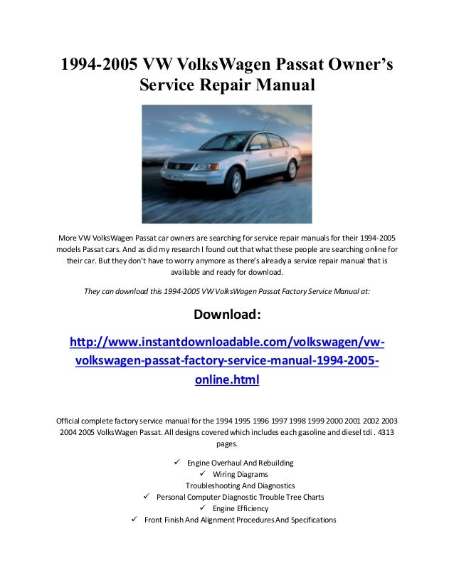 vw volkswagen passat 1994 1995 1996 1997 1998 1999 2001 2002 rh slideshare net 2002 passat service manual 2002 passat owners manual windows 7