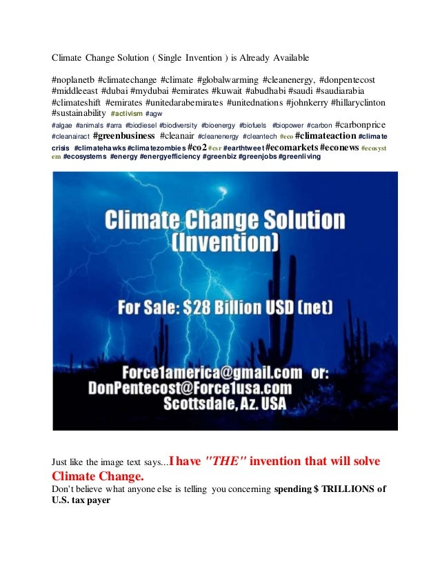 Climate Change Solution ( Single Invention ) is Already Available #noplanetb #climatechange #climate #globalwarming #clean...