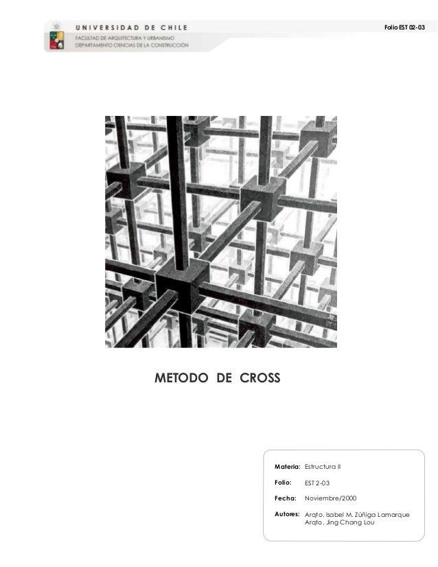 Folio EST 02-03 Materia: Folio: Fecha: Autores: METODO DE CROSS Estructura II EST 2-03 Noviembre/2000 Arqto. Isabel M. Zúñ...