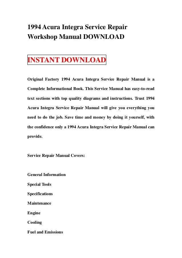 1994 acura integra service repair workshop manual download rh slideshare net ks lev integra service manual gardner denver integra service manual