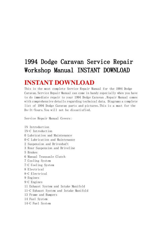 1994 dodge caravan service repair workshop manual instant download rh slideshare net 1994 dodge dakota repair manual free 1994 dodge dakota service manual pdf