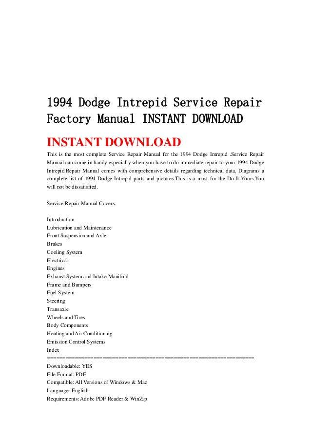 1994 Dodge Intrepid Service Repair Factory Manual Instant Download