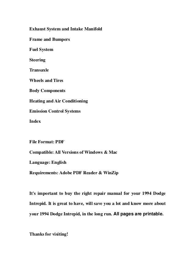 1994 dodge intrepid service repair workshop manual download rh slideshare net 2001 Dodge Intrepid 2004 Dodge Intrepid Interior