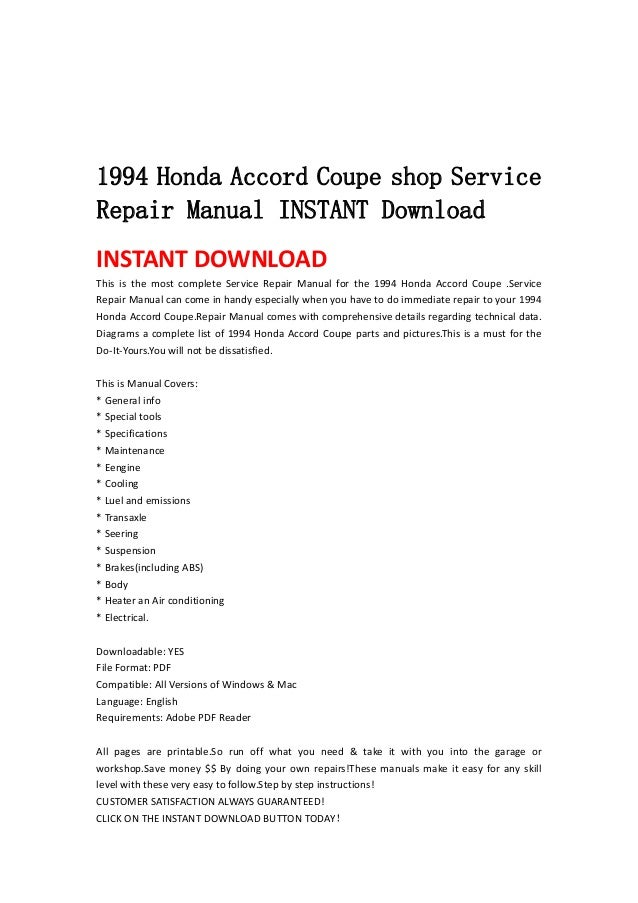 1993 honda accord repair manual