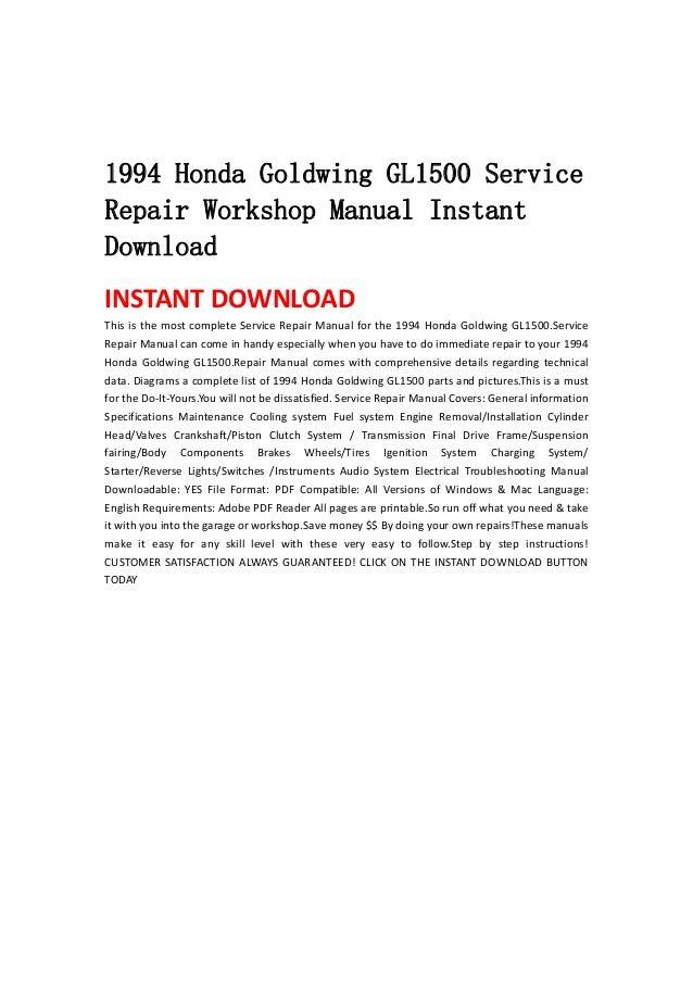 1994 honda goldwing gl1500 service repair workshop manual instant dow rh slideshare net goldwing gl1500 service manual gl1500 service manual free download