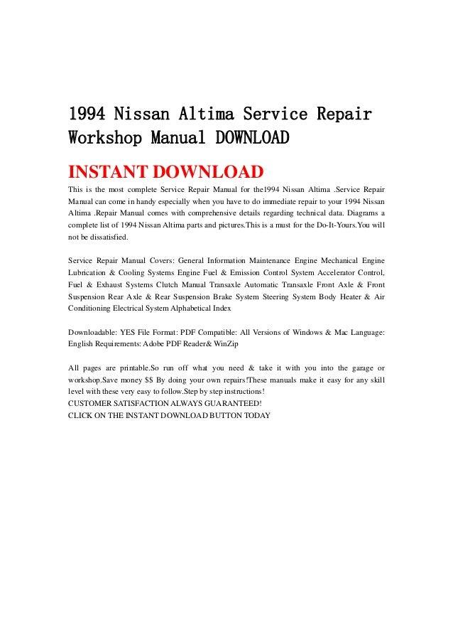1994 Nissan Altima Engine Diagram