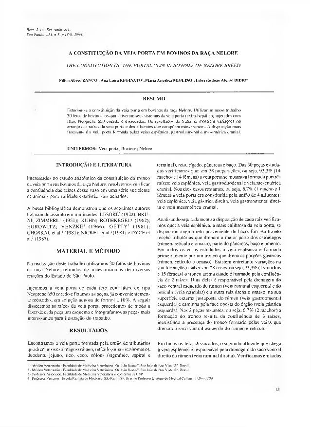 Braz. J. vet. Res. anim. Sci., São Paulo, v.31, n.l, p. 13-8, 1994.  A C O N ST IT U IÇ Ã O DA V EIA PO R TA EM BO V IN O ...