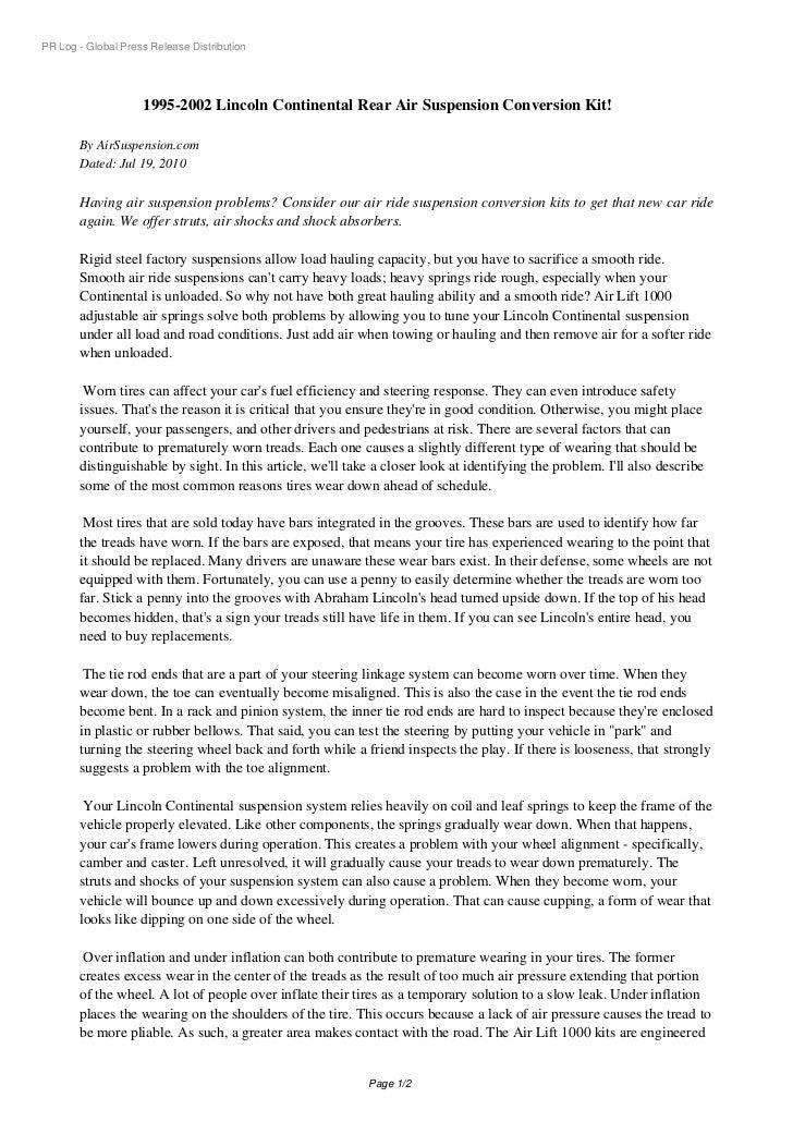 PR Log - Global Press Release Distribution                    1995-2002 Lincoln Continental Rear Air Suspension Conversion...