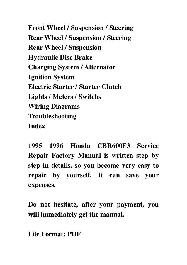 1996 Honda Cbr 600 F3 Service Manual