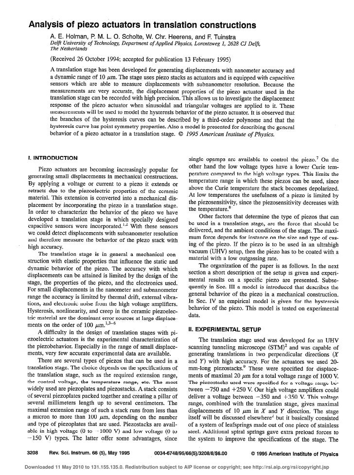 Analysis of pie20 actuators                       in transllation constructions            A. E. Holman, P. M. L. 0. Schol...