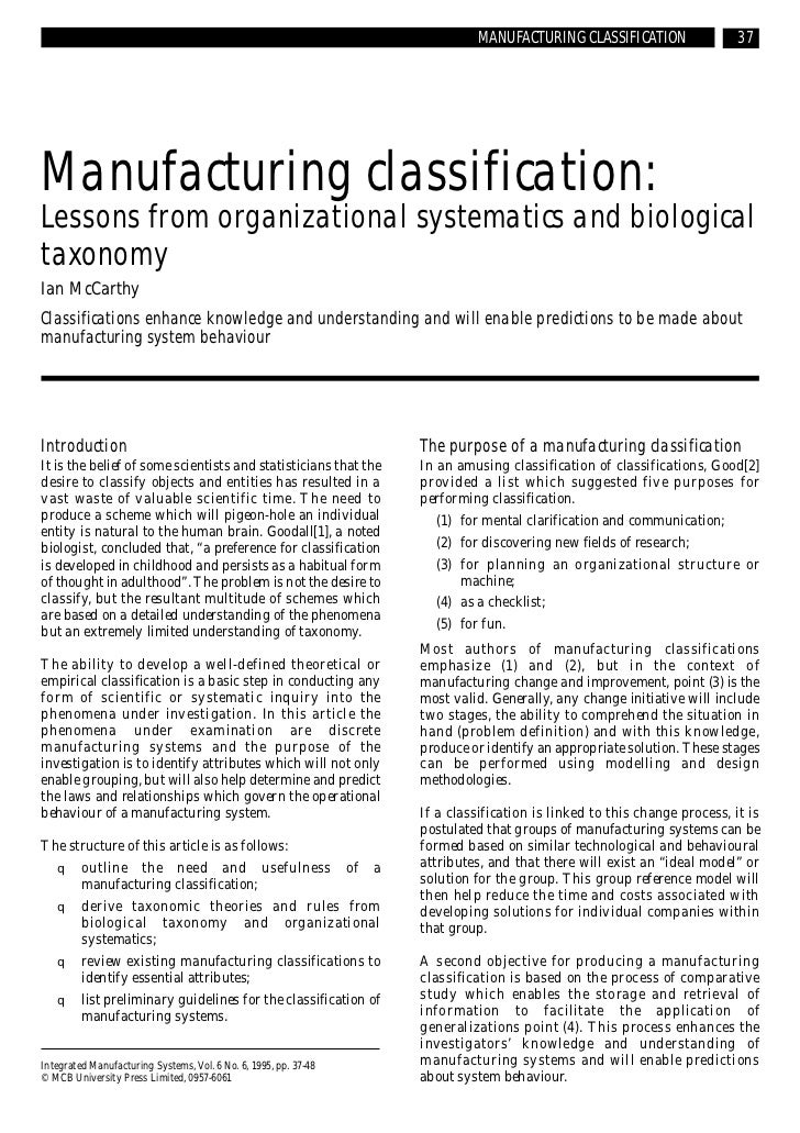 MANUFACTURING CLASSIFICATION                  37Manufacturing classification:Lessons from organizational systematics and b...