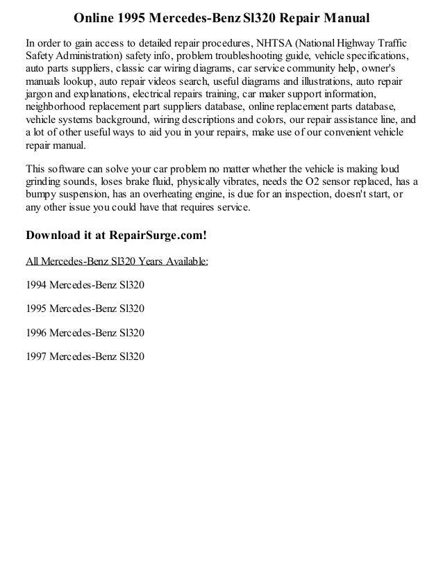 1995 mercedes benz sl320 repair manual online rh slideshare net mercedes sl 320 repair manual mercedes benz sl320 owners manual