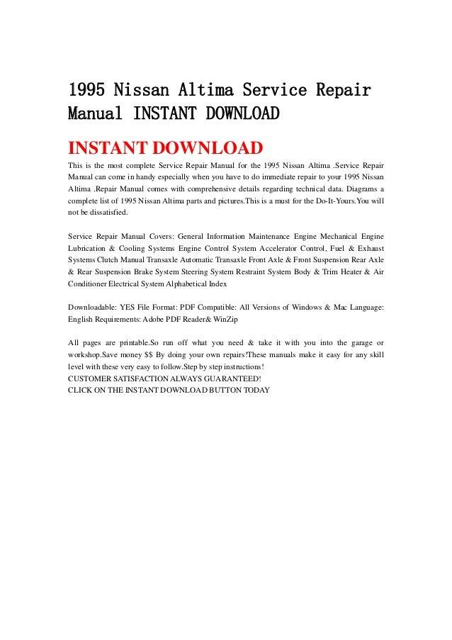 1995 nissan altima service repair manual instant download rh slideshare net 1995 Nissan Sentra 1995 Nissan Altima GXE Specs