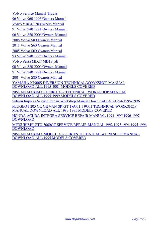 repair manual volvo 960 95 daily instruction manual guides u2022 rh testingwordpress co Volvo Diesel Engines Diagrams 1997 Volvo Owners Manual