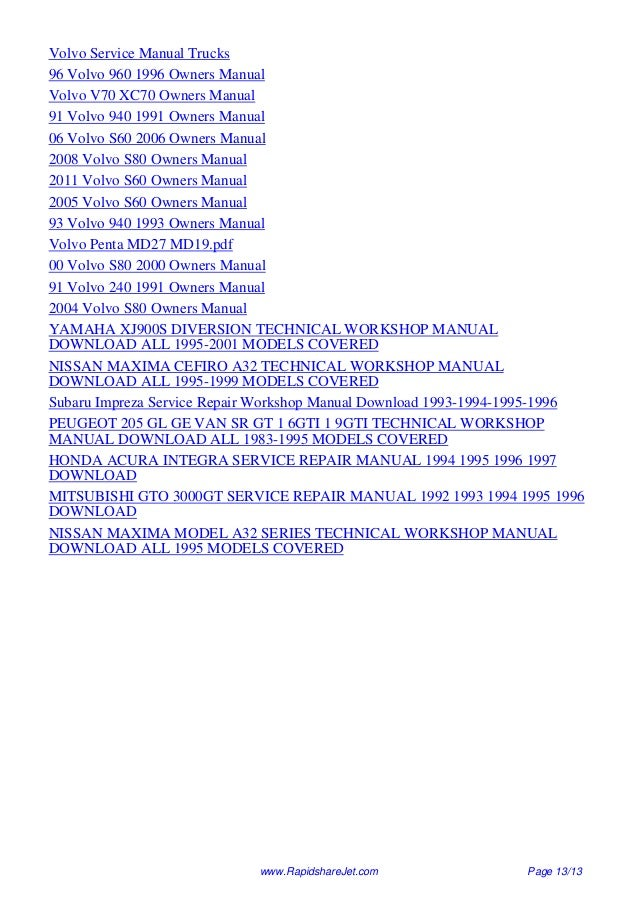 1995 volvo 960 service repair manual 95 rh slideshare net Volvo Manual Transmission Volvo S60 Manual