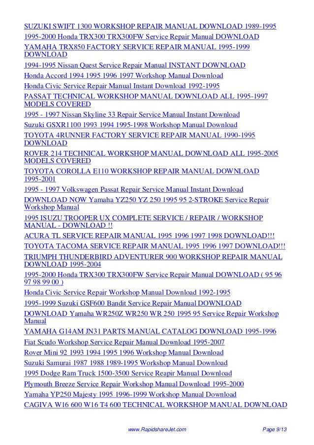 1995 volvo 960 service repair manual 95 rh slideshare net 99 honda accord repair manual pdf 91 Honda Accord Repair Manual Lights