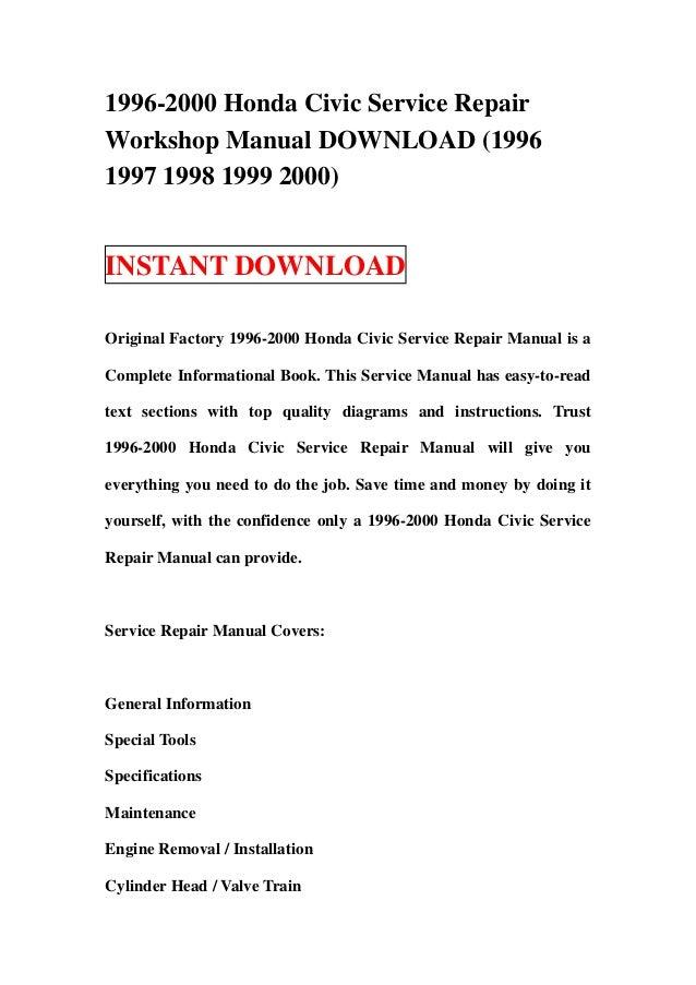 1996 2000 honda civic service repair workshop manual download 1996 1 rh slideshare net 1999 honda civic si repair manual 1999 honda civic repair manual