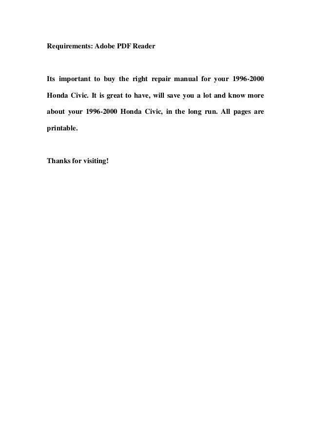 1996 2000 honda civic service repair workshop manual download 1996 1 rh slideshare net 1999 Honda Civic 96 00 Civic Parts
