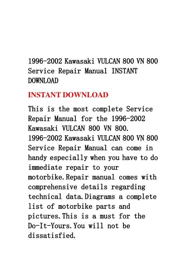 1996 2002 kawasaki vulcan 800 vn 800 service repair manual instant do…