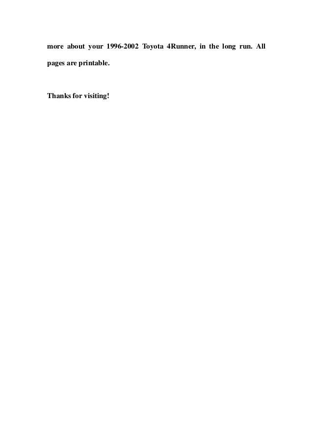 1996 2002 Toyota 4 Runner Service Repair Workshop Manual
