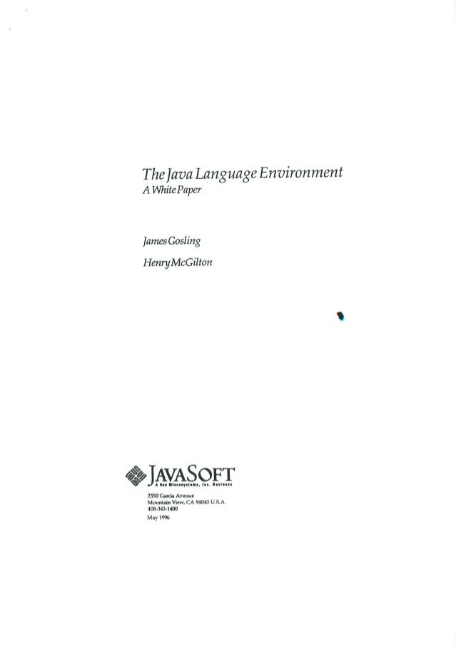 199605   white paper - the java language environment